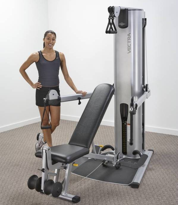 Vectra VFT-100 Functional Trainer w/Bench 160lbs. (Demo Model) - Click Image to Close